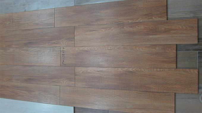 Brown Wood Wall Tiles / Ceramic Floor Tiles 150 X 800 Mm Size For Project