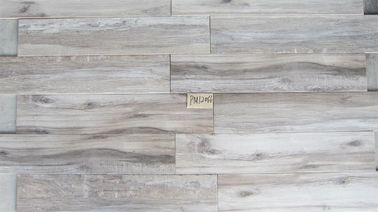 China Light Gray Color Ceramic Tiles Wood Design Non Rectified Edge Matt Surface supplier