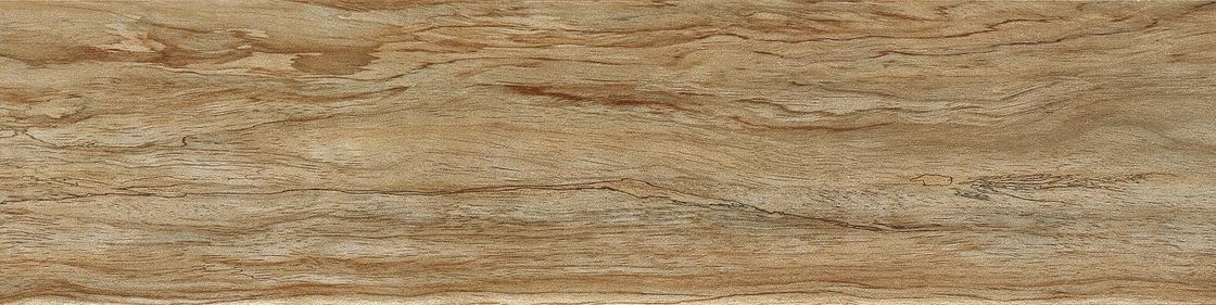 Brown Color Natural Wood Grain Tile Blends With Decors 15 × 60 Cm Grade AAA