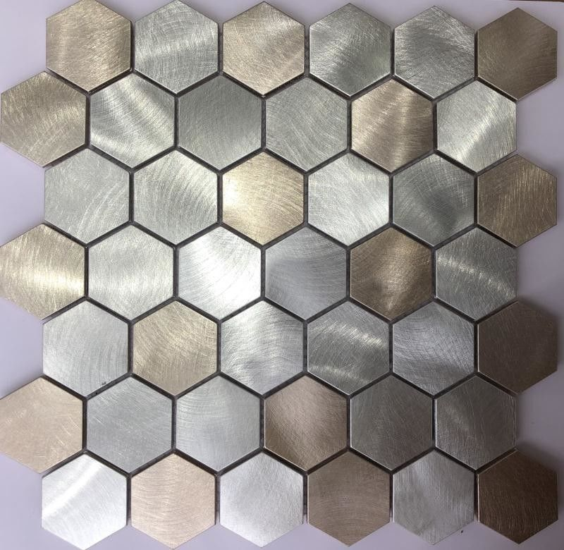 China 3D Gold Colorful Hexagon Metal Stainless Steel Mosaic Tile / Porcelain Mosaic Wall Tile factory