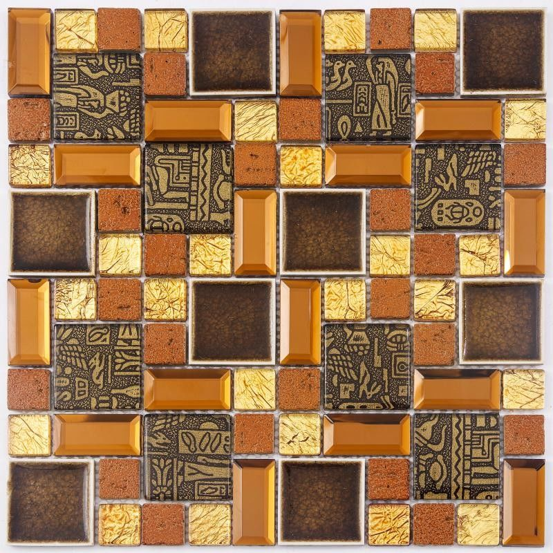 China Durable Fish Scale Irregular Glass Mosaic Tile Mixed Color Skid Resistance factory