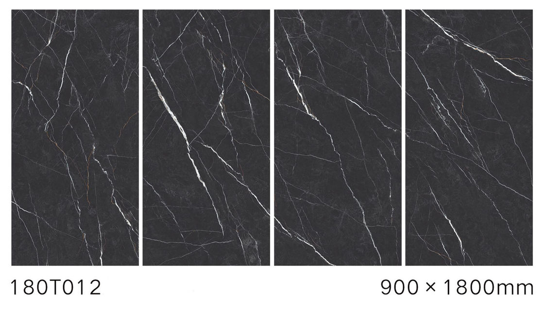Anti - Slip Polished Marble Tiles For Villa Electric Heating Black Color