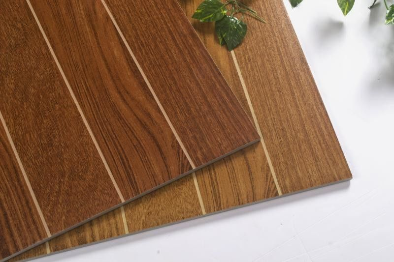 Lakewood Stripe Cherry Wood Color Ceramic Floor Wall Tile For Outdoor /  Indoor
