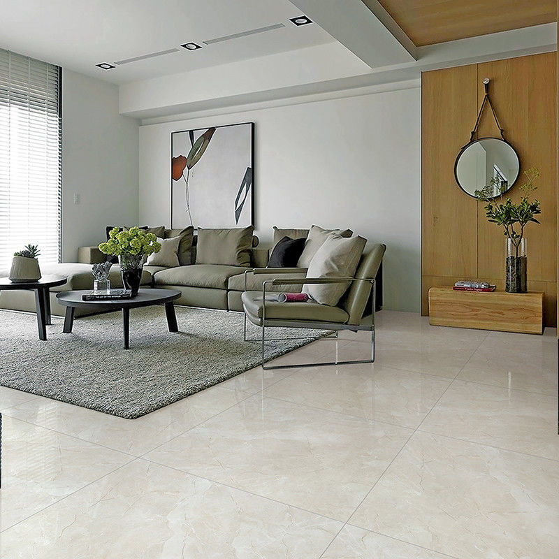 Fashion Shiny Ceramic Tile / Sandstone Look Porcelain Tiles Light Beige