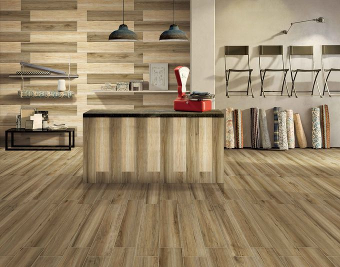 Brown Red Wood Grain Ceramic Floor Tiles For Mud Rooms And Entryways